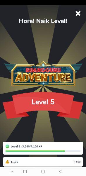 Tampilan Ruangguru Adventure saat naik level.