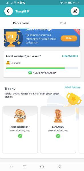 Pecapaian level, poin, dan trophy